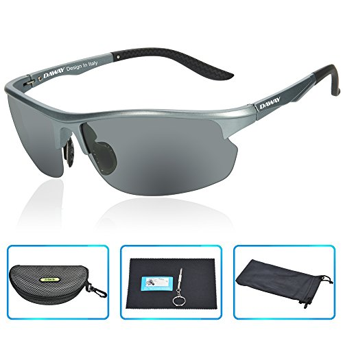 DAWAY SG15GG UV400 Polarized Sports Sunglasses Mens Driving Fishing Golf Cycling - TAC Lens Lightweight TR90 Frames -