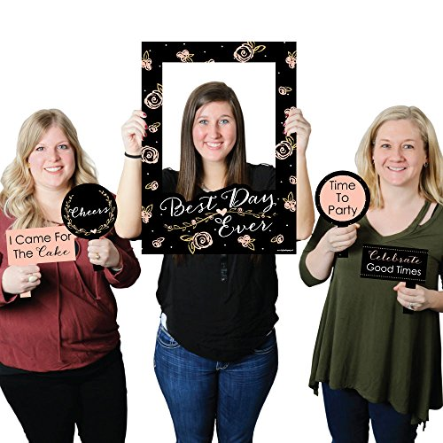 Big Dot of Happiness Best Day Ever - Bridal Shower Selfie Photo Booth Picture Frame & Props - Printed on Sturdy ()