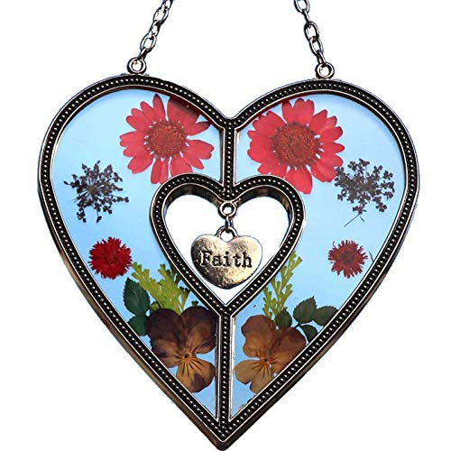 (Faith Heart Sun Catchers Stained Glass Sun Catchers for Windows Heart with Pressed Flower Heart - Glass Heart Suncatchers - Mom Gifts Gift for Mother's Day Mom for Birthdays Christmas (Faith))