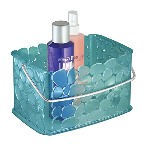 mDesign Decorative Bath Storage Basket Bin with Handle for Organizing Hand Soaps, Body Wash, Shampoos, Lotion, Conditioners, Hand Towels, Hair Accessories, Body Spray - Small, Pebble Design, (Decorative Caddy)