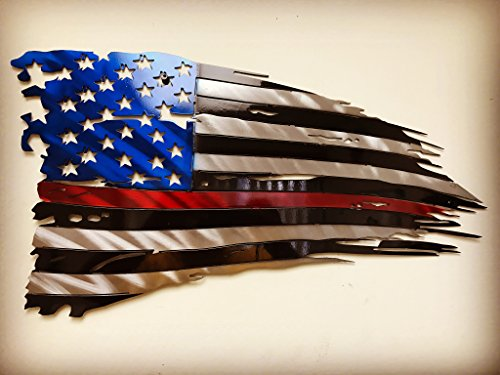 Metal Art of Wisconsin Firefighters Weathered Old Glory Painted American Flag Metal Art 2-Foot