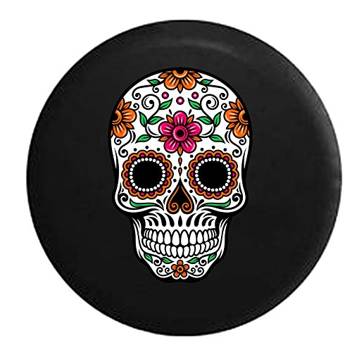- 556 Gear Sugar Skull Orange Pink Green Jeep RV Spare Tire Cover Black 33 in