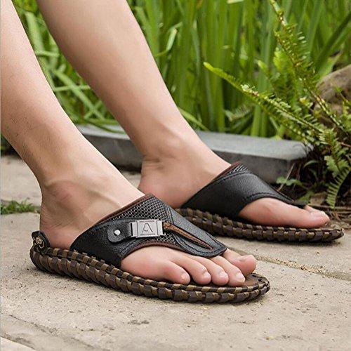 Loisirs Black Tongs 38 Plage Été glissement Non Pour En Taille Femmes Cuir Et Hommes Sandales Pantoufles 47 HqfxUvvw