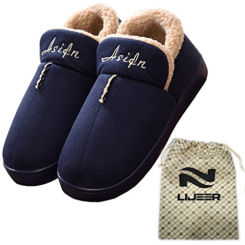 Indoor Home Cotton Slippers Winter Cozy Memory Foam Warm Snti-skid Wear-Resistant Wool Drag Lijeer