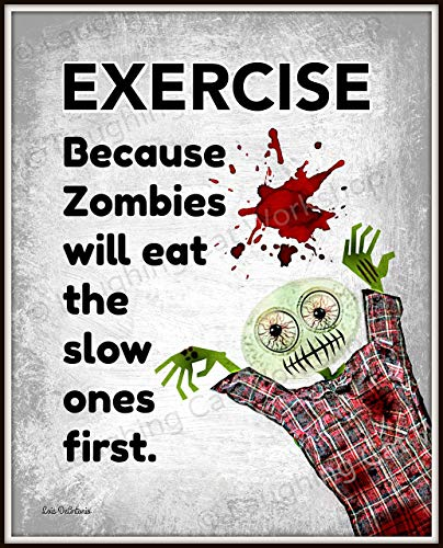Funny Zombie print hipster Blood Zombies art Exercise Poster Work Out Lift Fitness Health Education Back to School Gym Art Zombie lovers gift The walking dead art Teens sports print ()