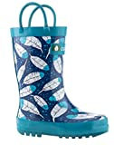 Oakiwear Kids Rubber Rain Boots With Easy-on Handles (2y Us Big Kid, Feathers) | amazon.com