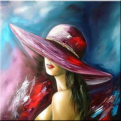 Peinture Diamant 5d Avec Motif Femme Chapeau Rouge 30 X 30 Cm Amazon Fr Cuisine Maison