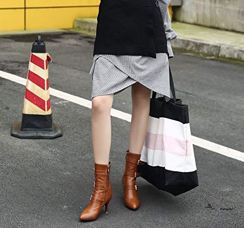SHANGWU Damen Damen Damen Frauen mittlere Ferse Schuhe Stiefel kalb Biker Stiefel   2018 Herbst Winter Spitze Kopf mit Stiefeletten Plus samt Martin Stiefel 63ff3d