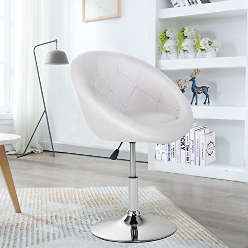 Round High Chair - WATERJOY Barstool, Round Tufted Back Swivel Chair, Chrome Adjustable Swivel Leather Bar Accent Stool Chair with Hydraulic Lift White