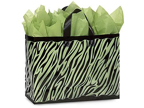 Frosted Zebra Stripe Bags - Vogue Zebra Frosted Plastic Bags Mini Pk 3 mil HD Plastic 16x6x12
