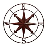 Zeckos Metal Wall Sculptures Distressed Metal Indoor/Outdoor Compass Rose Wall Hanging 28 Inch 28 X 28 X 0.5 Inches Red For Sale
