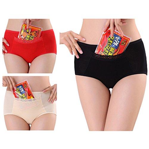 Sasairy bragas cómodas protectoras, evitan las filtraciones de la menstruación, absorbentes, de fibra de bambú, con bolsillo escondido bordado Pack of 3 Black/Red/Skin