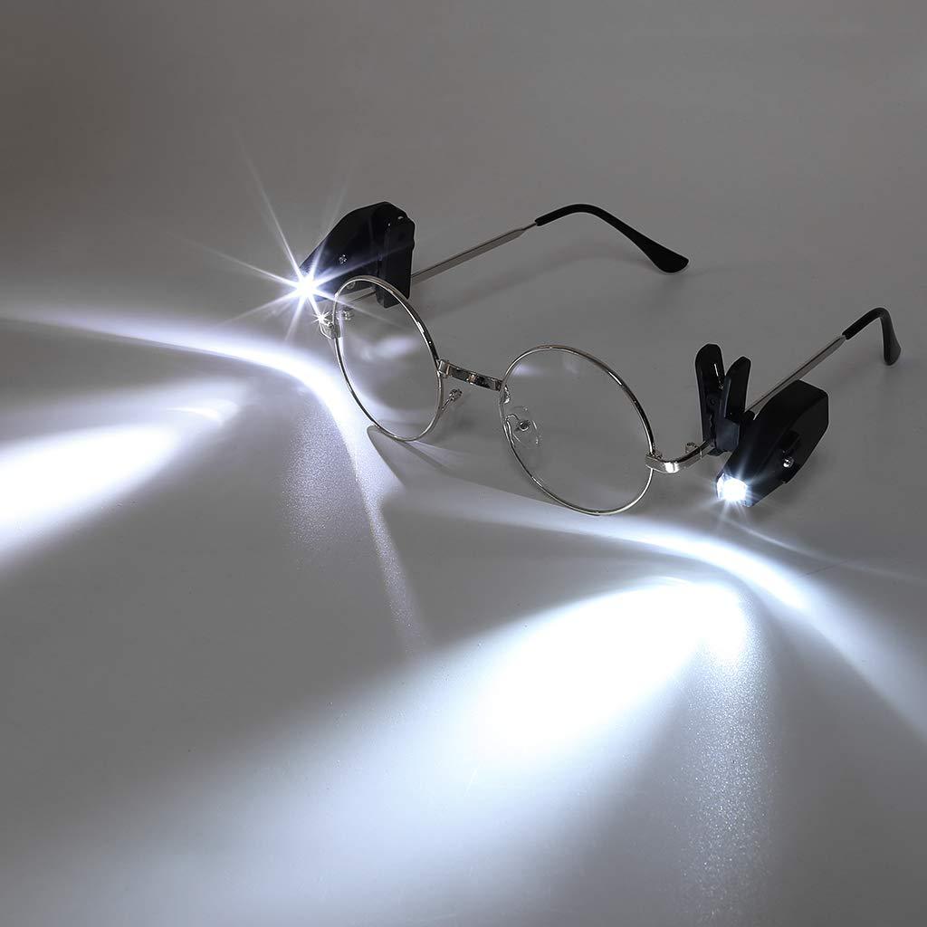 Flexible Book Reading Lights Adjustable Lights,Outdoor Sport Light\\n Hergon 2pcs LED Eyeglass Clip Light
