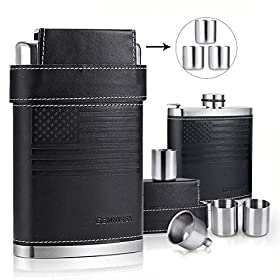 GENNISSY Hip Flask 8 Oz with Funnel Stainless Steel with Leather Wrapped Cover and 100% Leak Proof