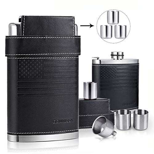 GENNISSY 18/8 Stainless Steel 8oz Flask - Americal Flag Black Leather with 3 Cups and Funnel 100% Leak - Flask Flag Confederate