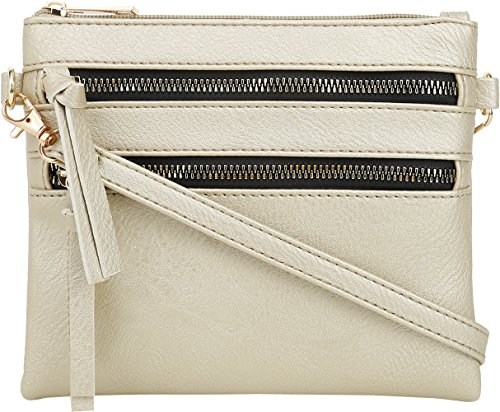 DELUXITY | Crossbody Wristlet Bag | Functional Multi Pocket Double Zipper Purse | Adjustable & Detachable Strap | Small Size Purse | Gold ()