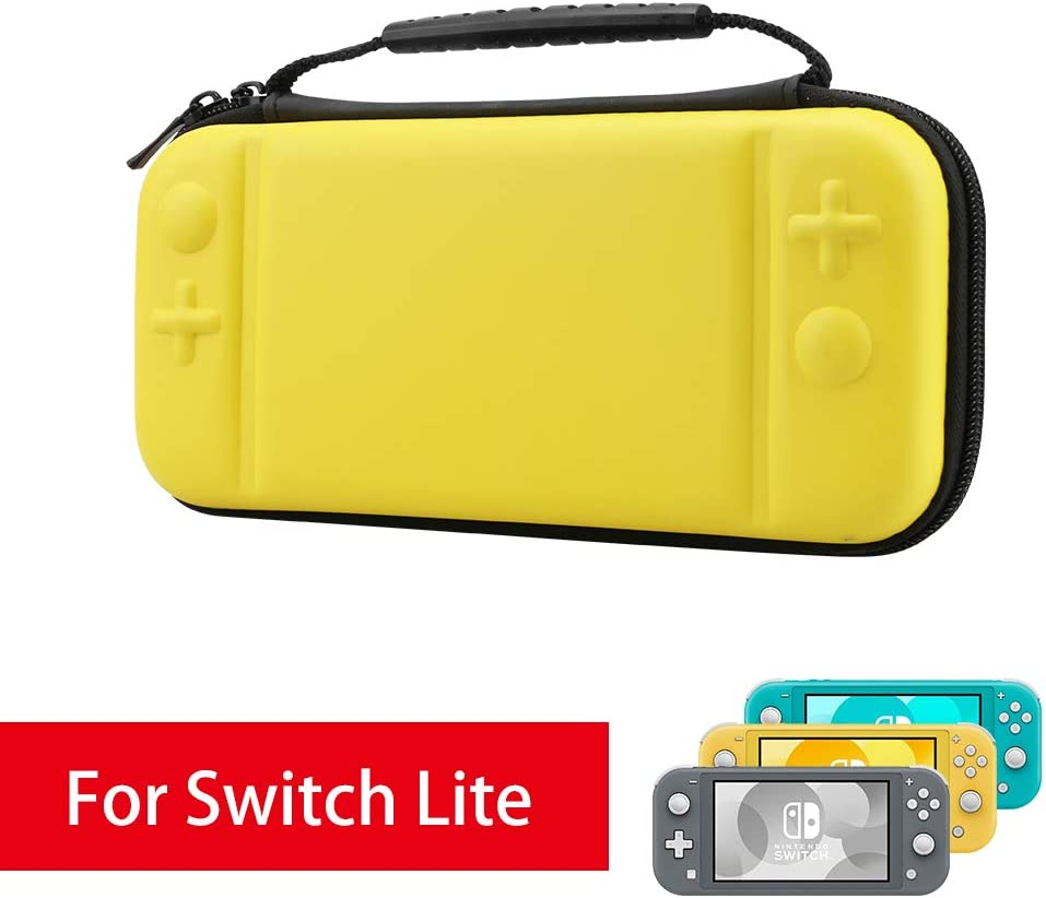 AFAITH Carrying Case for Nintendo Switch Lite, with 8 Games Cartridges Protective Hard Shell Travel Storage Case Pouch for Nintendo Switch Lite Console & Accessories, Yellow