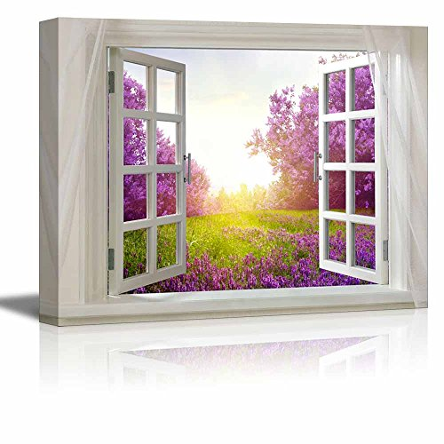 Glimpse into Beautiful Purple Landscape in Spring out of Open Window Stretched ing