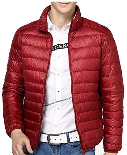 Generic Men's Winter Packable Ultra Puffer Down Coats Jacket Wine Red