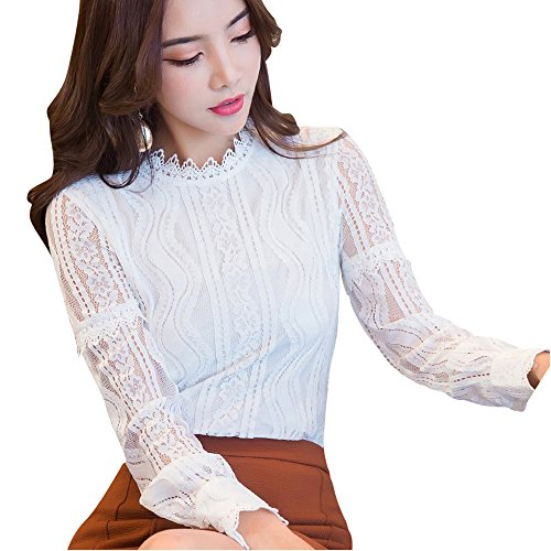 SansoiSan Women Hollow Out Green Button Lace Long Sleeve Elegant Blouse(XS-5XL) (XX-Large, White)