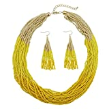 Bocar Multi Layer Beaded Statement Necklace Set Mix Strand Necklace and earrings for Women Gift (NK-10459-yellow)