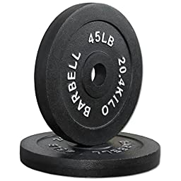Compact 45 lb Cast Iron Olympic Weight Plate Pair