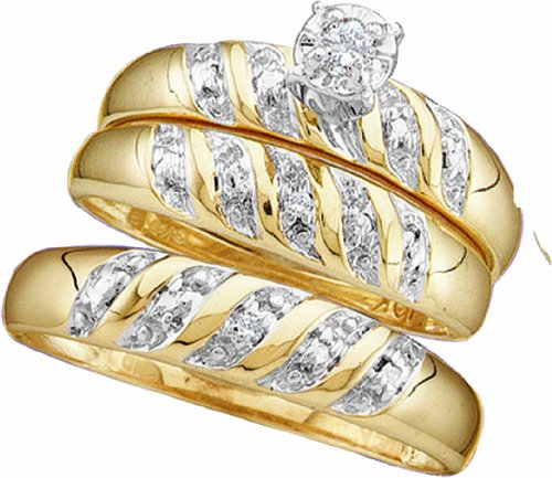 10k Yellow Gold Round Diamond Engagement Ring Wedding Band Set 0.07 Ct