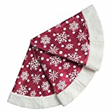 "50"" Christmas Tree Skirt - Decorative Christmas Tree Skirt for Christmas & Holiday/Red with White Snow Flake Pattern and Fleece Border (Three Layer Construction)"