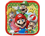 paper super mario - Swank Super Mario Brothers Birthday Party Square Dessert Paper Plates Tableware (8 Pack), Multi Color, 7
