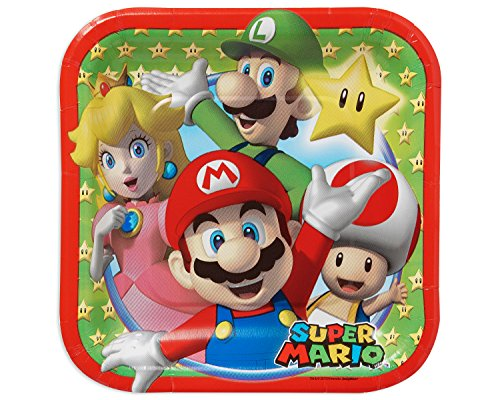 Amscan Swank Super Mario Brothers Birthday Party Square Dessert Paper Plates Tableware (8 Pack), 7