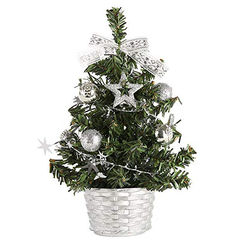 Oldeagle Christmas Miniature Tree, 20cm Artificial Tabletop Mini Christmas Miniature Tree for Christmas Festival Decorations (Silver) by Oldeagle (Image #1)