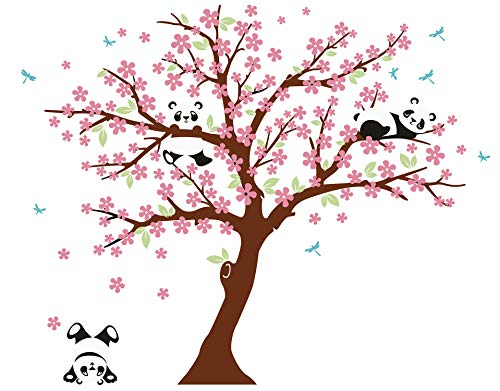 (LUCKKYY Three Playful Pandas Bear on Cherry Blossom Tree Wall Decal Tree Wall Sticker Nursery and Children's Room (Brown+Pink) )