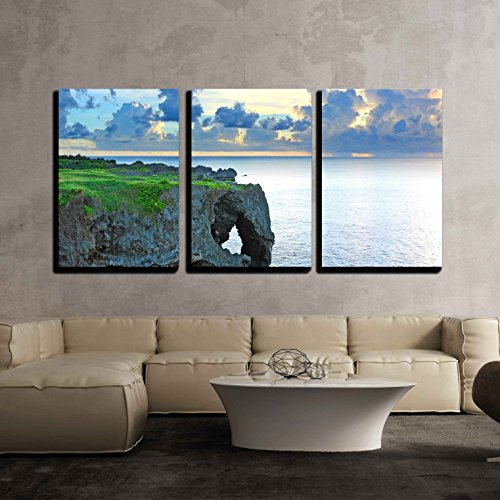 wall26 - 3 Piece Canvas Wall Art - Sunset with Rock, Okinawa, Manzamo - Modern Home Decor Stretched and Framed Ready to Hang - 24