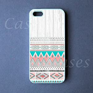 Iphone 5 Cover Aztec on White Wood Design Case, Coolest Top Custom Rubber Cas...
