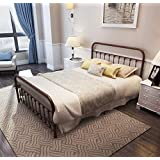 TEMMER Metal Bed Frame Queen Size with Headboard and Footboard Single Platform Mattress Base,Metal Tube and Antique Brown Baking Paint Iron-Art Double Bed.
