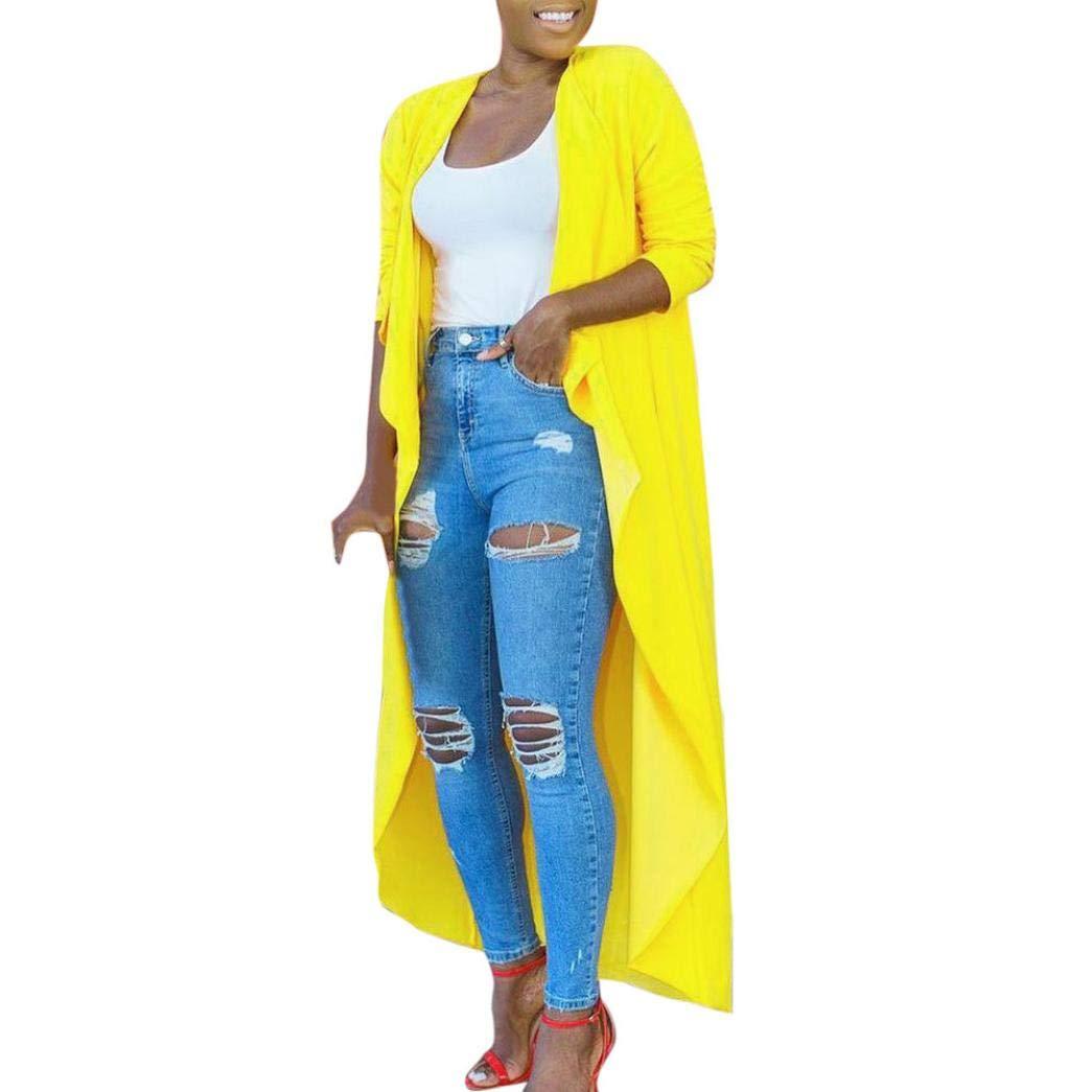 Xchenda Women's Long Yellow Shawl Flare Sleeve Casual Kimono Cardigan Blouse Top Beachwear Long Cover up (L, Yellow)