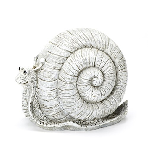 (Roman Exclusive Pudgy Pal Snail Garden Statue, 8-Inch, Made of Dolomite)
