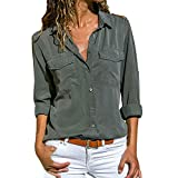 Women Casual Solid Long Sleeve Turn Down Collar Chiffon Button Front Shirt Tops