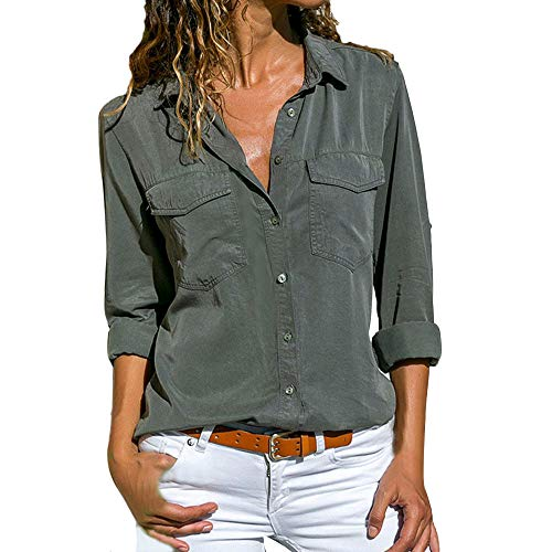 New Belted Safari Jacket - VESNIBA Women Casual Solid Long Sleeve Turn Down Collar Pockets Button Front Shirt Tops