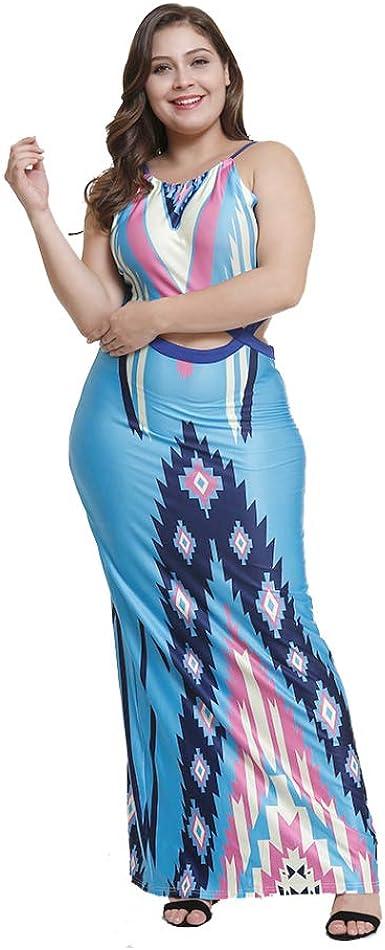 Vestido Largo Mujer Talla Grande Falda Larga Trapecio Moda Floral ...