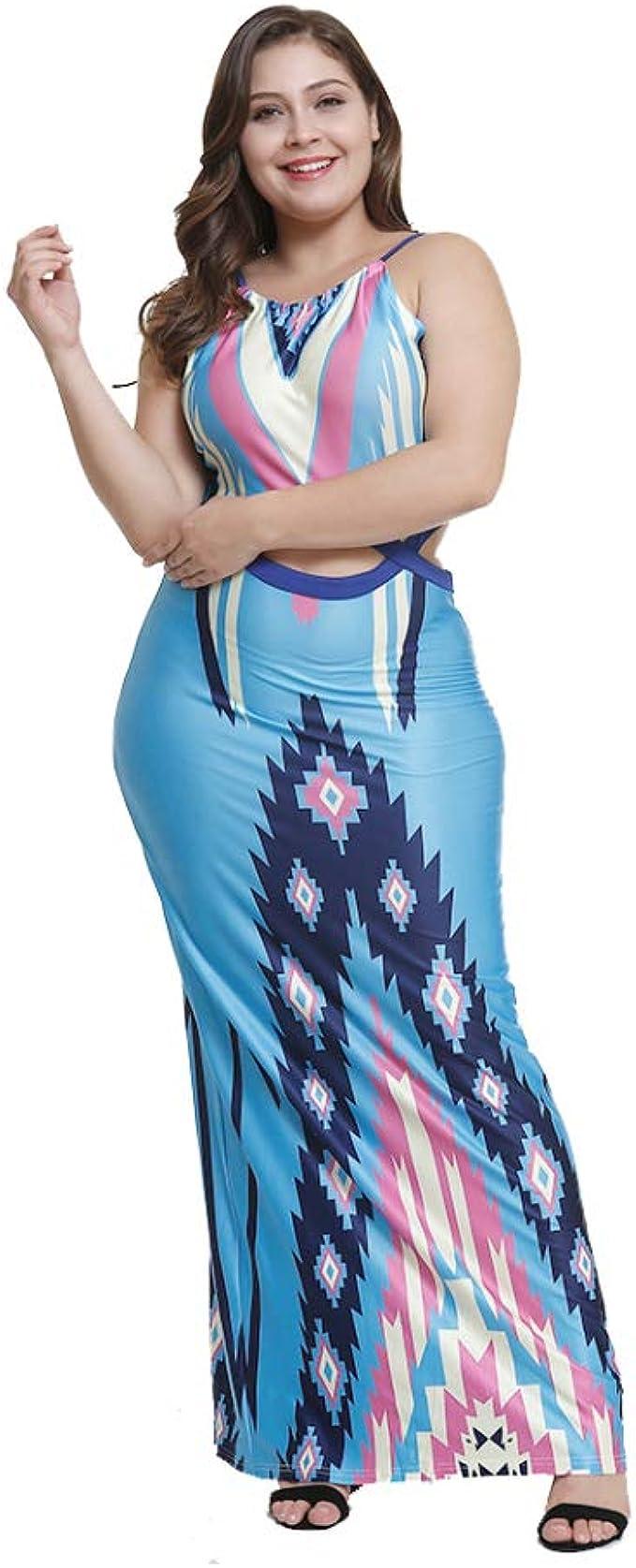 Vestido Largo Mujer Talla Grande Falda Larga Trapecio Moda ...