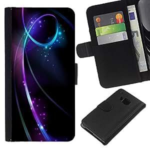 HTC One M7 Modelo colorido cuero carpeta tirón caso cubierta piel Holster Funda protección - Black Lines Swirling Glitter Stars