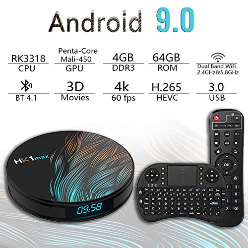 Android TV Box 9.0 4GB 64GB Smart TV Box Streaming Media Player RK3318 USB 3.0 Ultra HD 4K HDR Dual Band WiFi 2.4GHz 5.8GHz Bluetooth 4.1 Set Top Box with Wireless Keyboard HK1 MAX 4G 64G