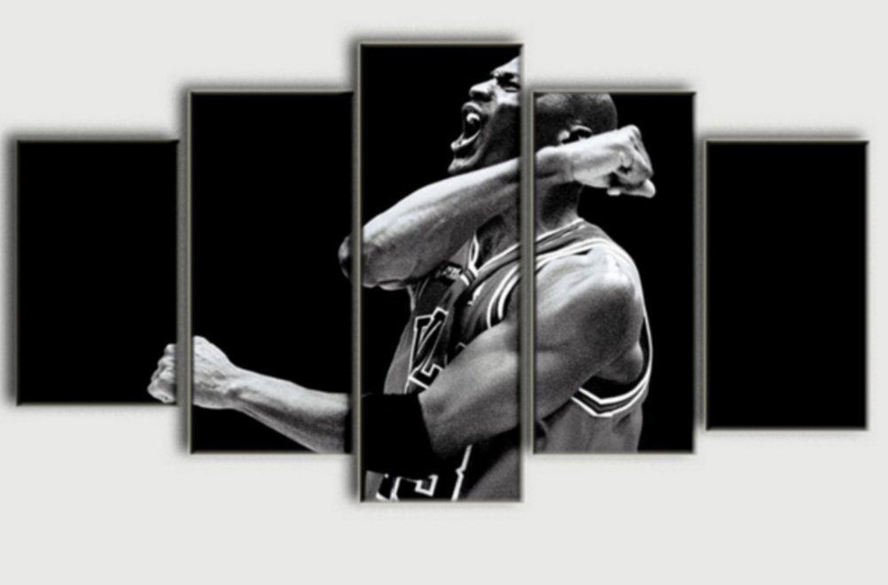 5 PCS Framed Michael Jordan's Motivation Canvas Painting/Prints - 5 PCS Framed Canvas (3050cm2+3070cm2+3080cm1)