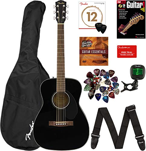 Fender CC-60S Concert Acoustic Guitar - Black Bundle with Gig Bag, Tuner, Strap, Strings, Picks, Fender Play Online Lessons, Instructional Book, and Austin Bazaar Instructional DVD