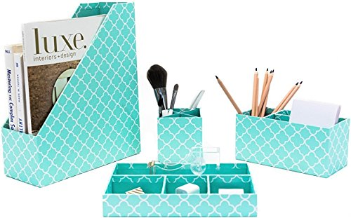 Blu Monaco Turquoise Desk Organizer for Women - 4 Piece Desk Accessories Set - Letter - Mail Organizer, Sticky Note Holder, Pen Cup, Magazine File Holder - Teal Aqua Clover (Office Supplies Turquoise)