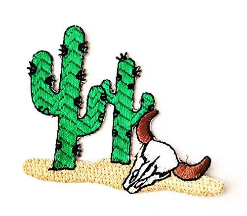 HHO Desert Cactus Bull Skull Patch Iron On