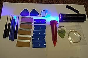 Linterna 9 LED UV, 5 ml de pegamento adhesivo líquido y herramientas de apertura para iPhone, Samsung, HTC, Nokia, LG, iPad