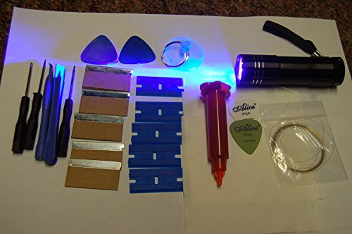 5ML LOCA GLUE, 9 LED UV TORCH AND OPENING TOOLS FITS IPHONE, SAMSUNG, HTC,...