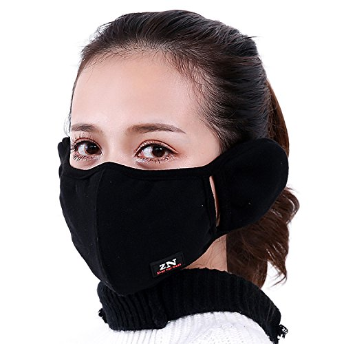 Price comparison product image Brave Tour Warmer Mask Anti Dust Anti-fog Windproof Earmuff Mouth-muffle Safety Particle Respirator Filters Bacteria Protection(black)